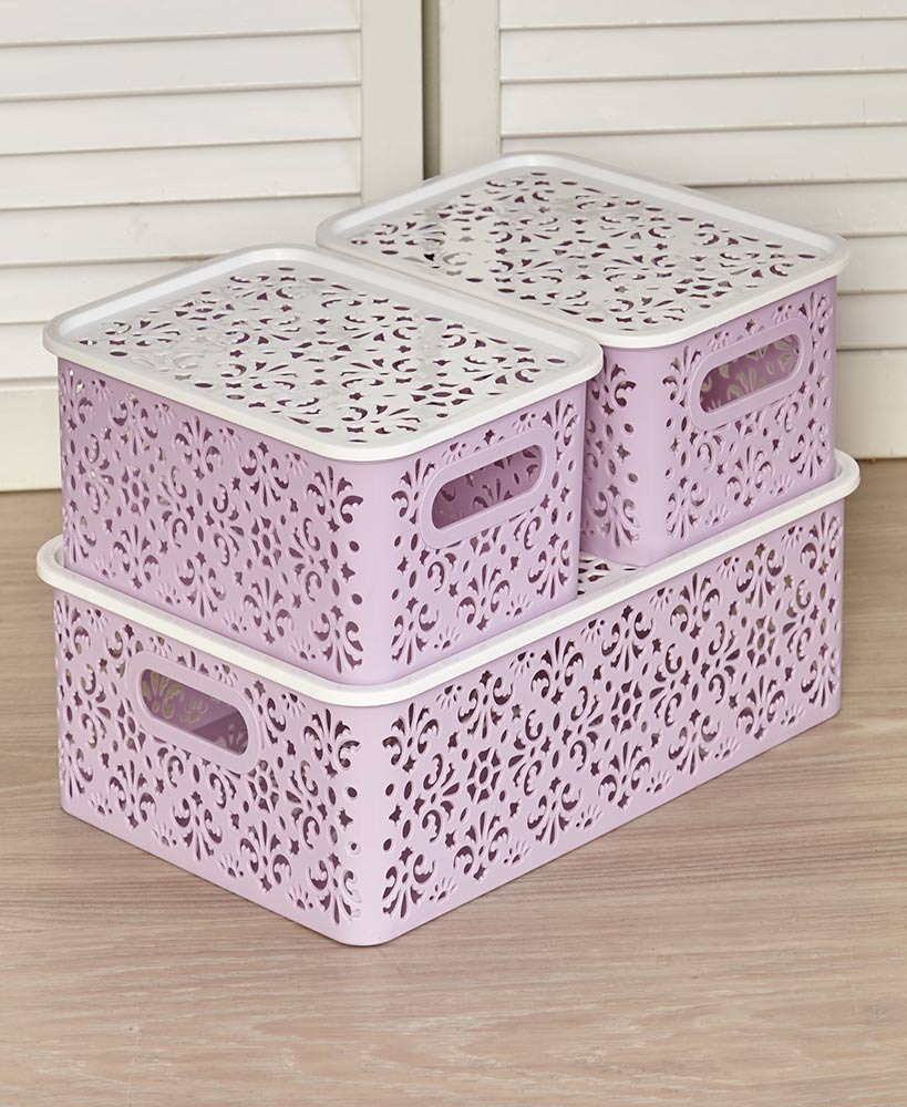 Set Of 3 Stackable Storage Bins With Lids