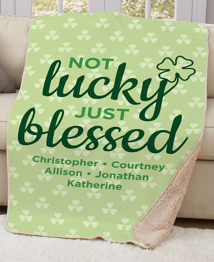 Not Lucky Just Blessed Personalized Four Leaf Clover Sherpa Throw