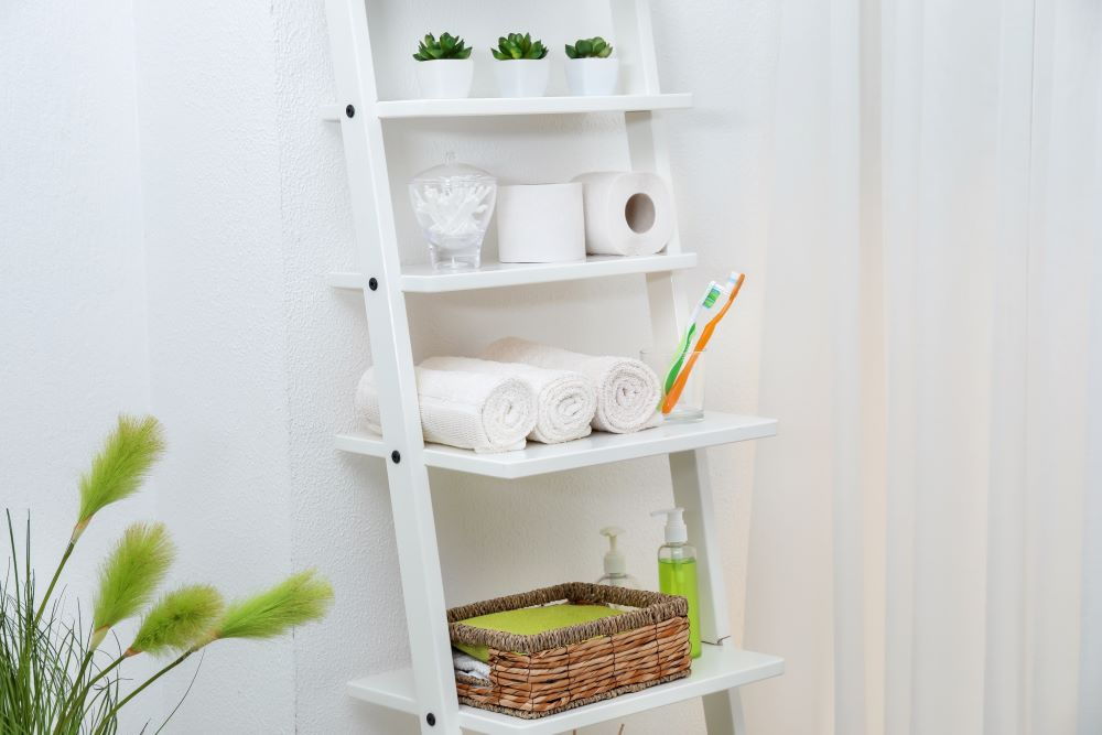 Storage Ideas For A Small Bathroom - Ladder Shelf