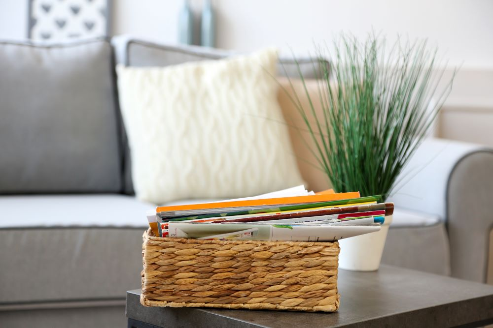 Wicker Basket Storage - Basket Of Magazines