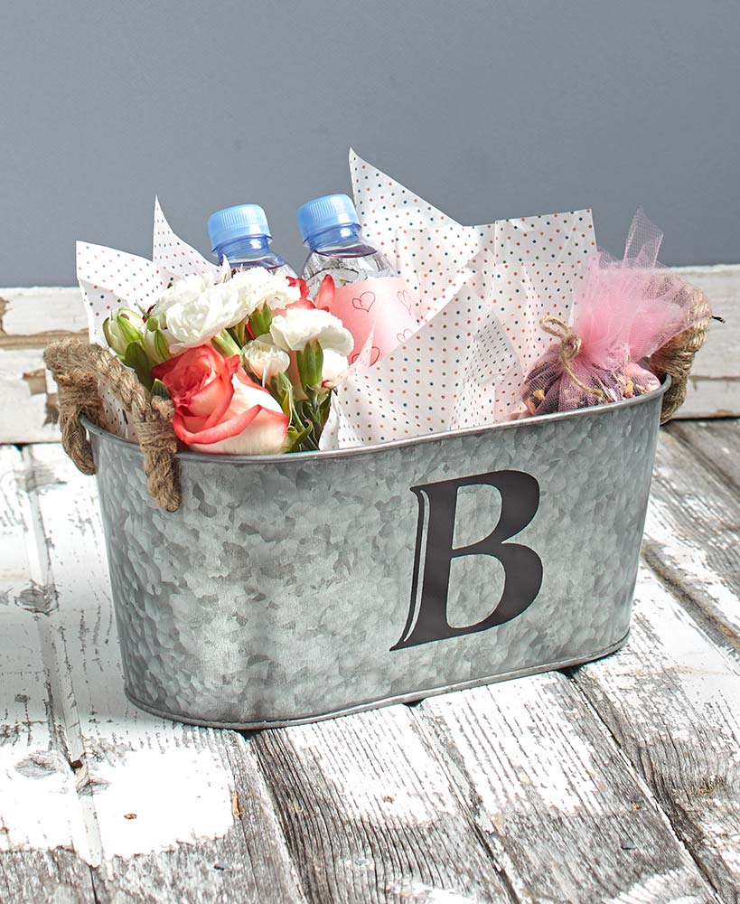 Galvanized Monogram Buckets