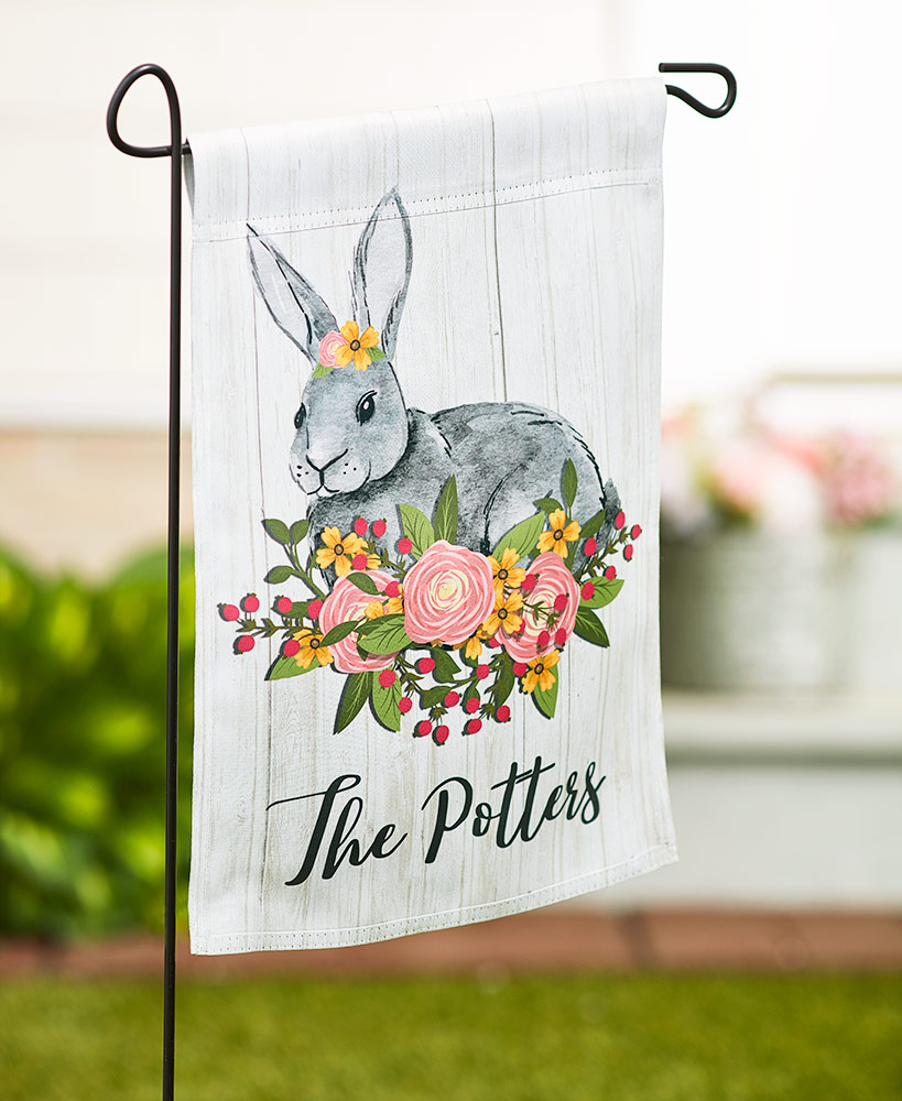 Personalized Spring Floral Bunny Flag