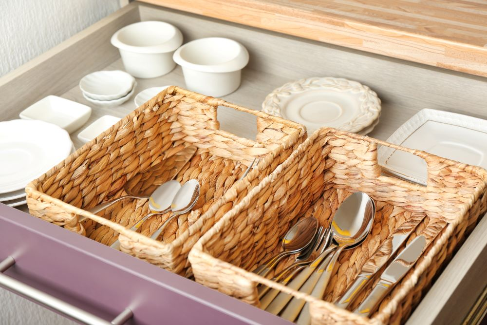 Wicker Basket Storage - Baskets Of Silverware
