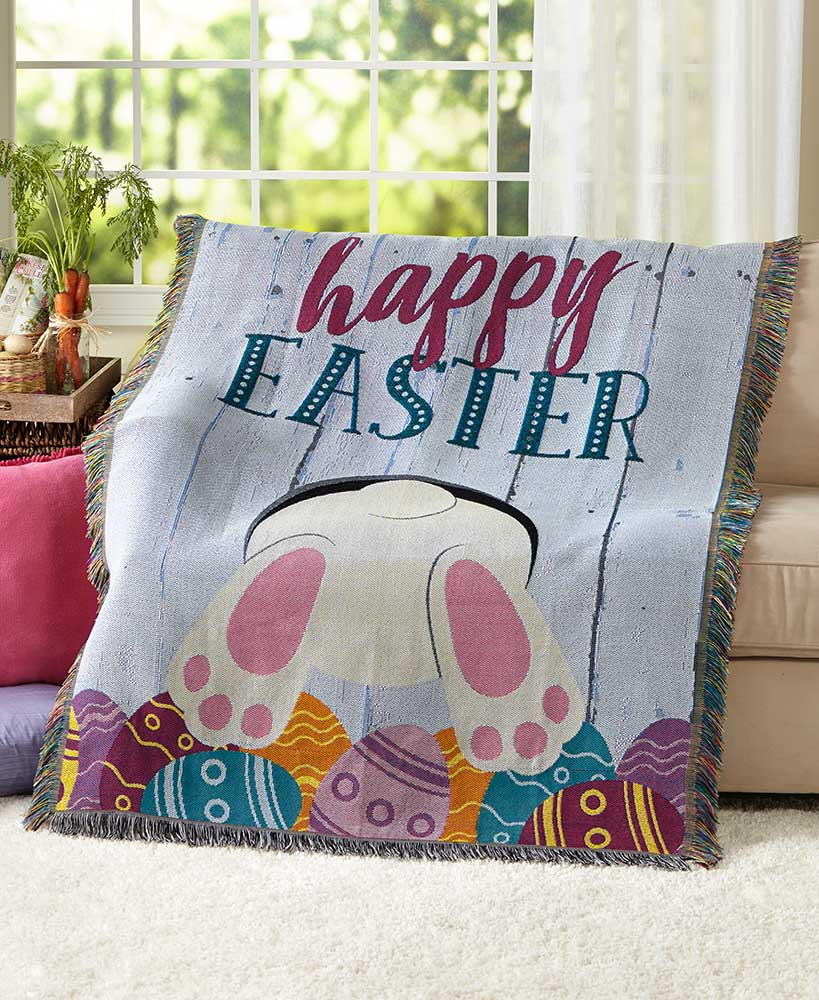 Bunny Behind Spring Tapestry Throw Blanket