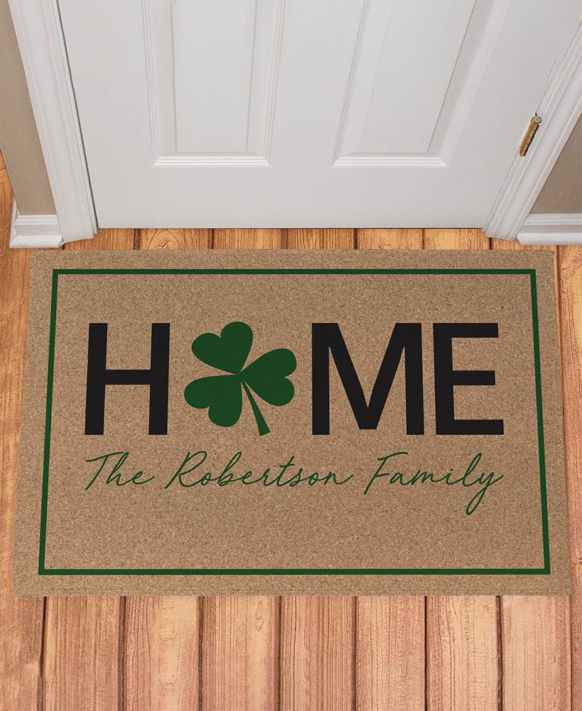 Personalized Home Four Leaf Clover Doormat