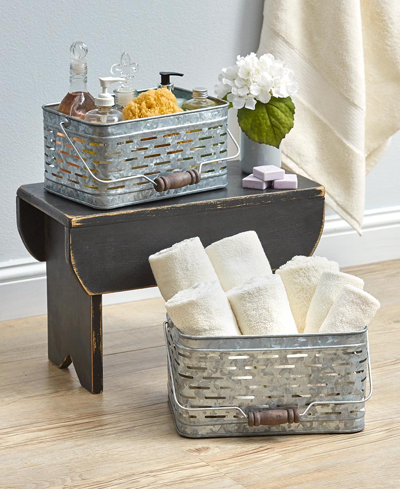 Storage Ideas For A Small Bathroom - Galvanized Metal Olive Basket