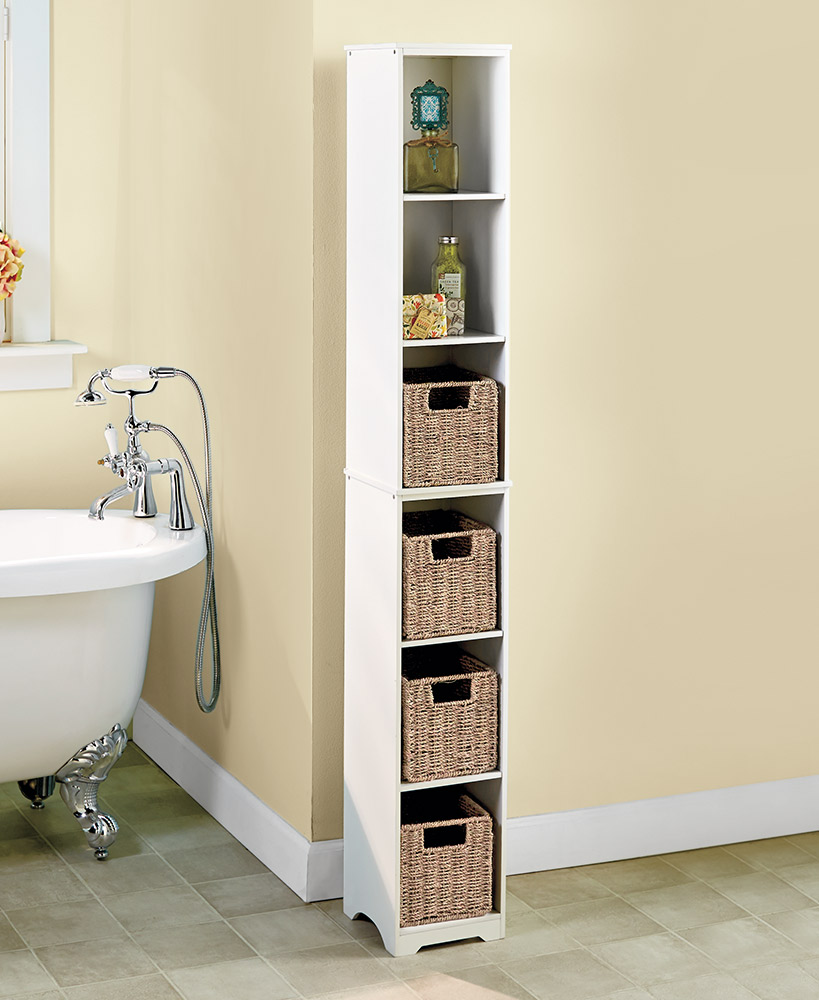 Storage Ideas For A Small Bathroom - Slim Storage Tower And Baskets