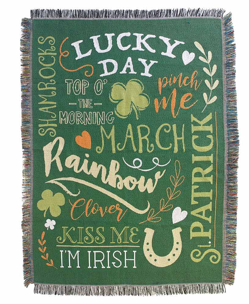 Lucky Day Spring Tapestry Four Leaf Clover Throw