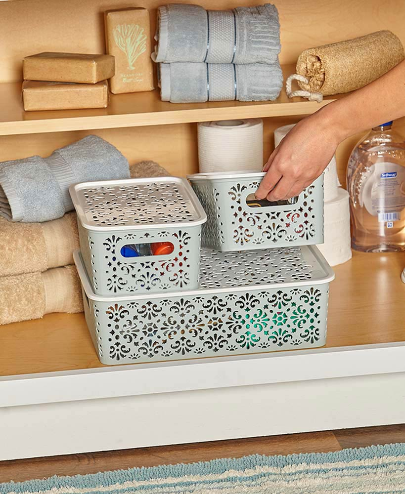 Storage Ideas For A Small Bathroom - Stackable Storage Bins