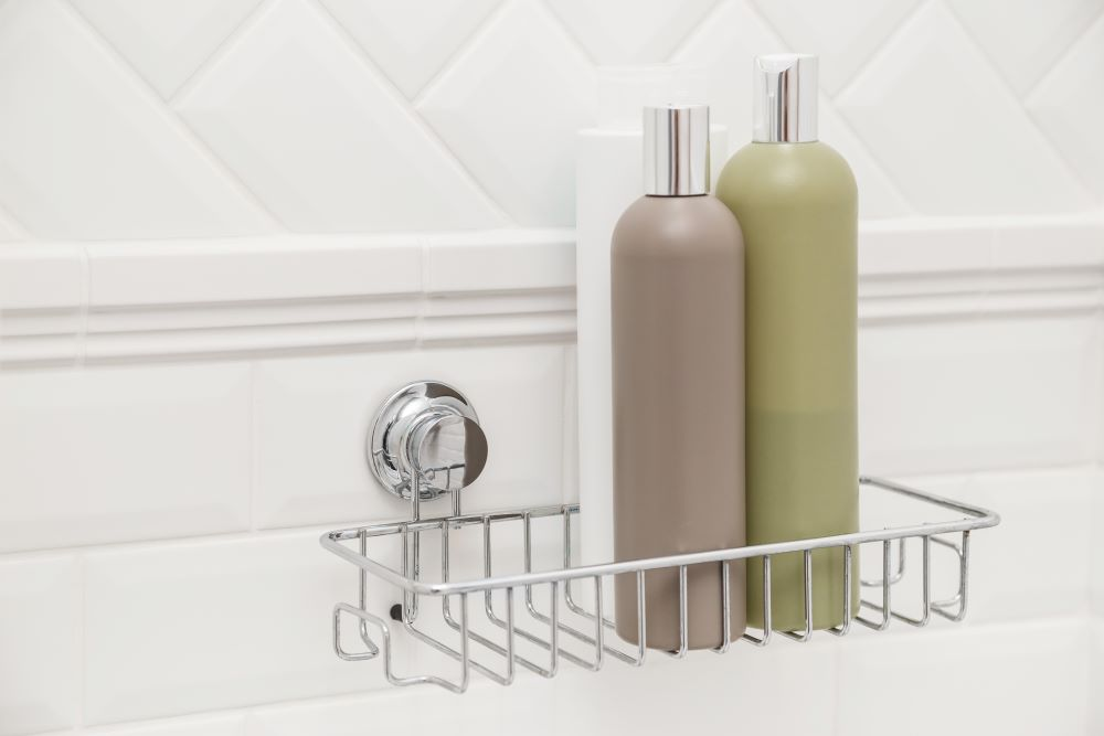 Storage Ideas For A Small Bathroom - Suction Cup Shower Shelf
