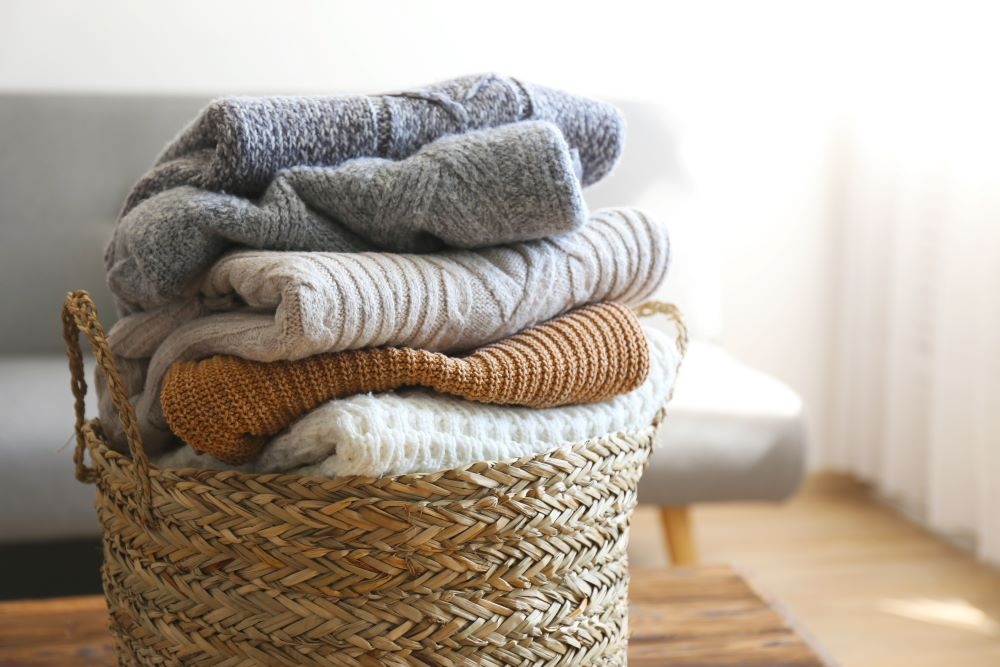 Wicker Basket Storage - Basket Of Sweaters