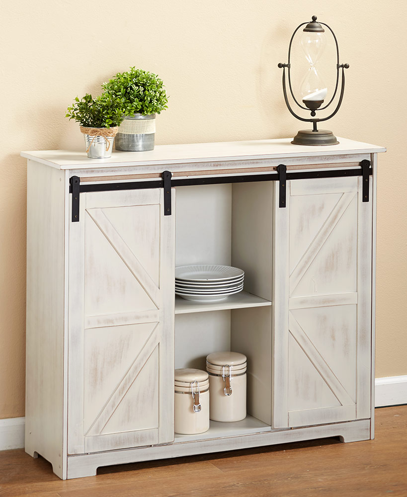 White Barn Door Buffet Cabinet