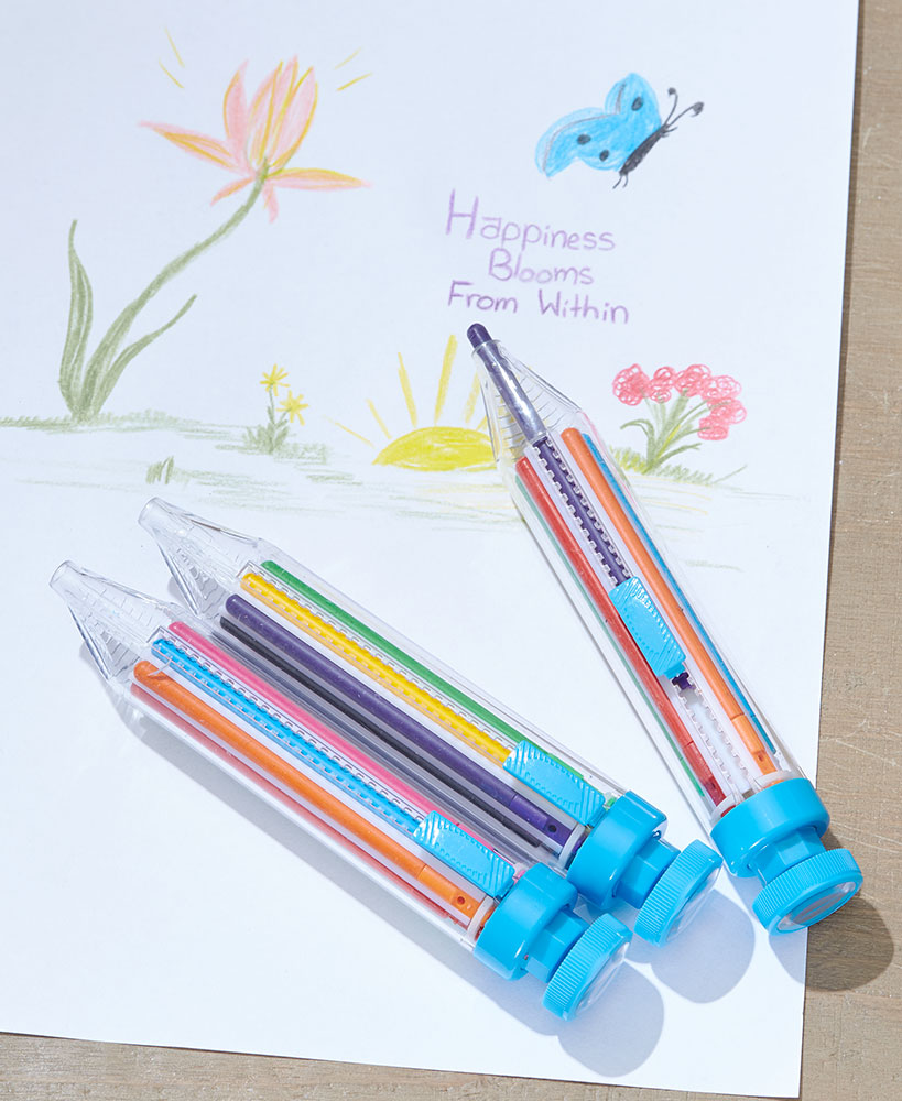 Set Of 3 Retractable Color Crayon Pens