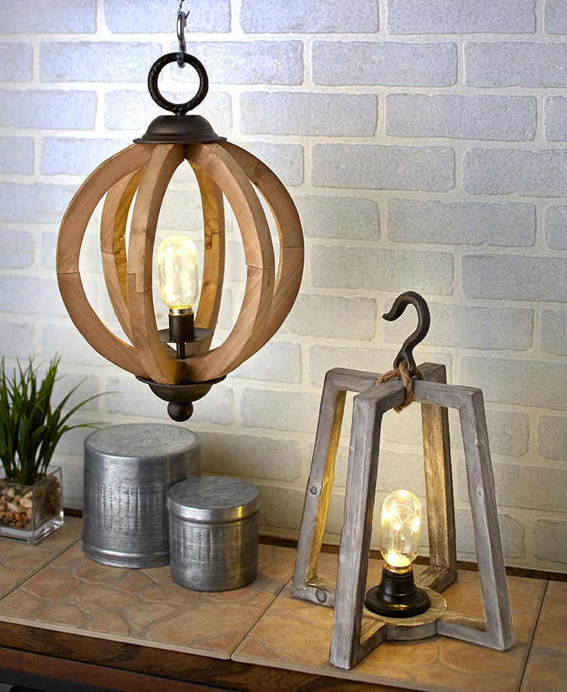 Rustic Wood LED Lanterns