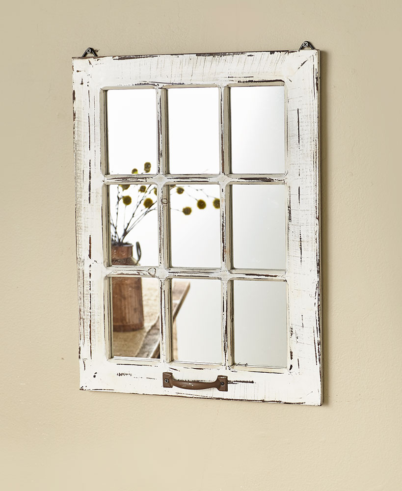 Distressed Wood Windowpane Mirror