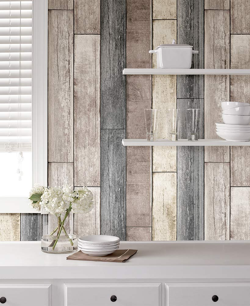 Reclaimed Wood Plank Peel And Stick Wallpaper
