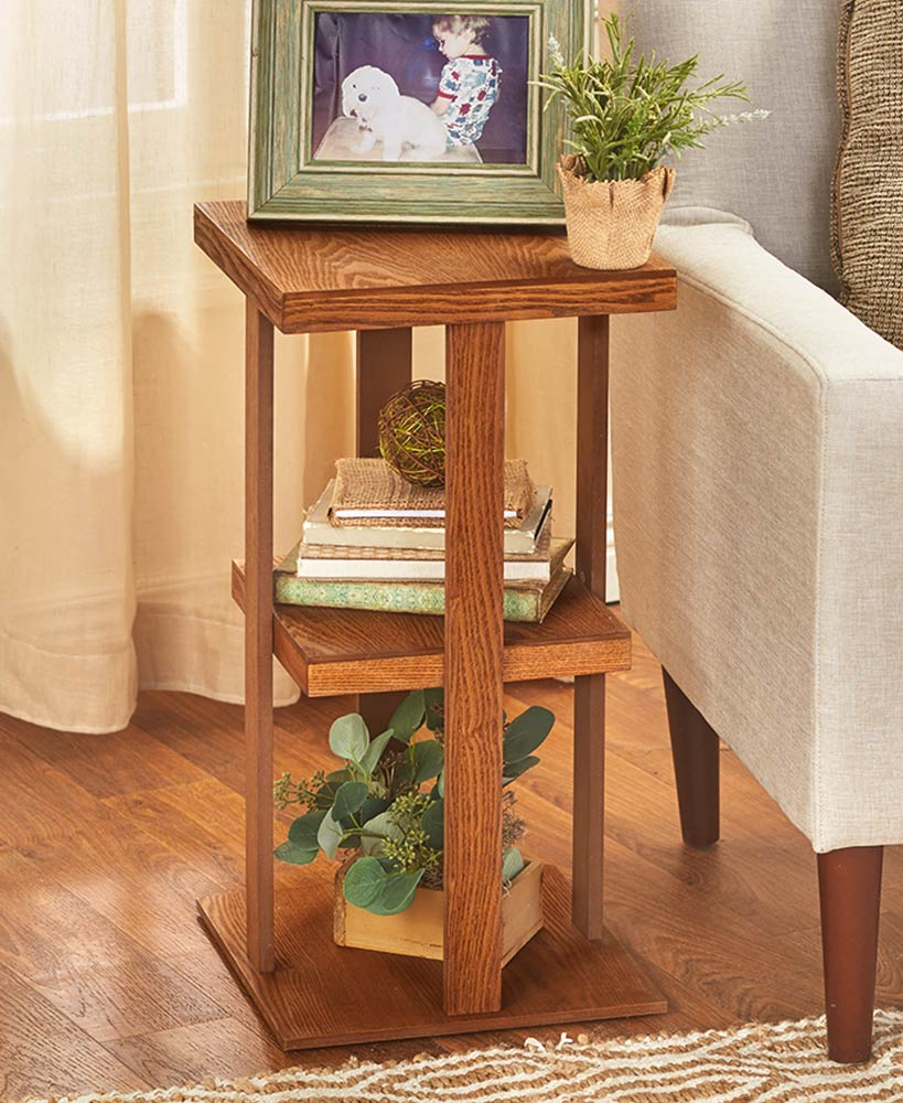 Rustic Finish Square Side Table