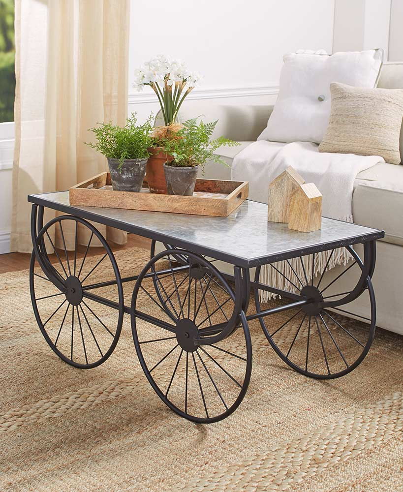 Galvanized Wagon Wheel Coffee Table