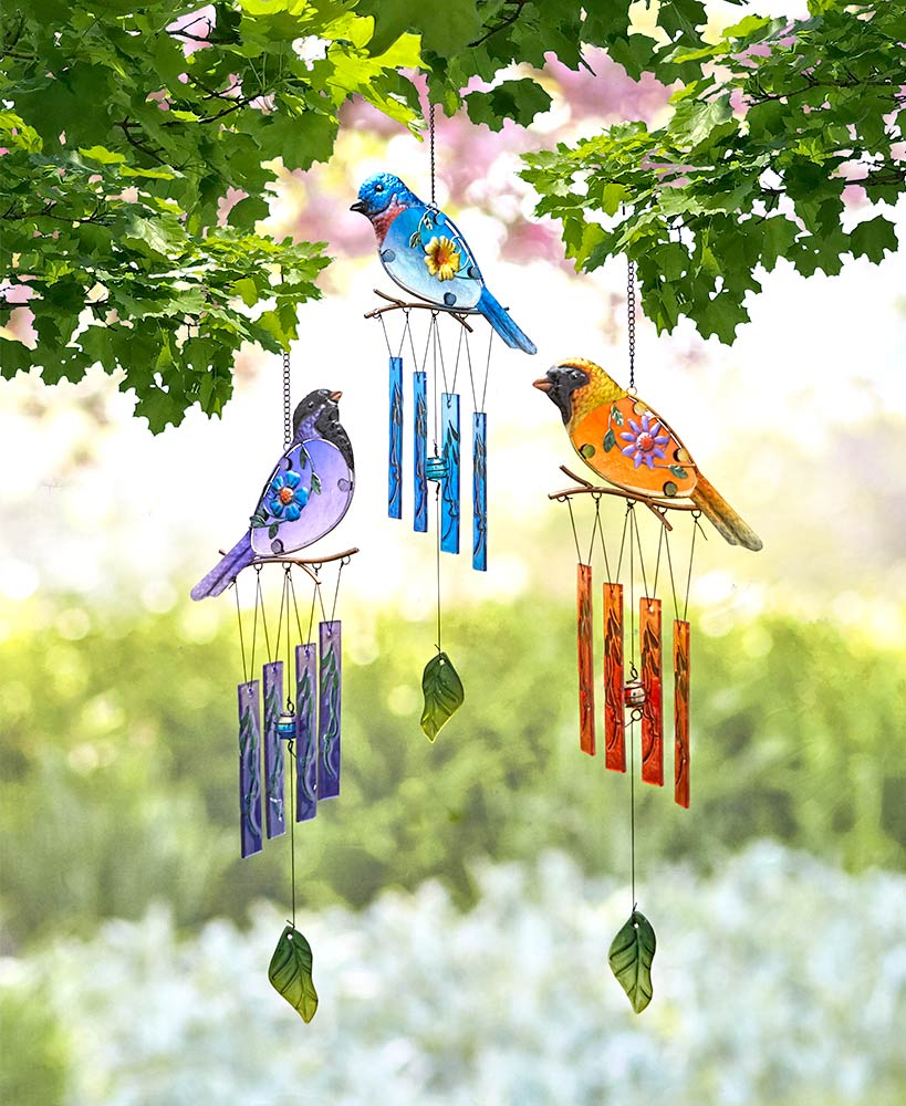 Garden Decor - Colorful Glass Bird Wind Chimes