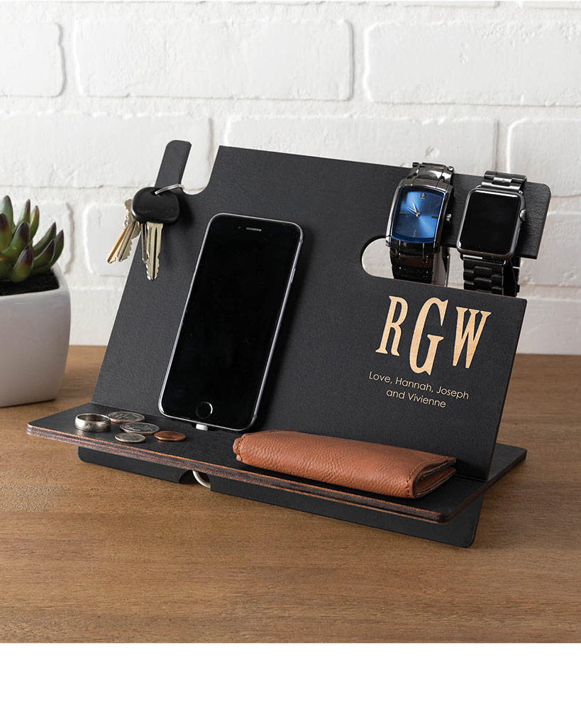 Birthday Gifts For Friends - Personalized Wood Valet Desk Organizer