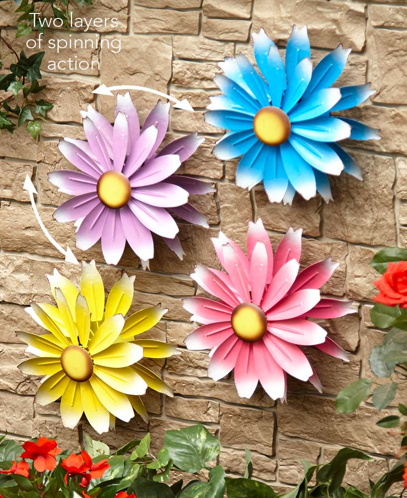 Metal Garden Spinner Wall Flowers