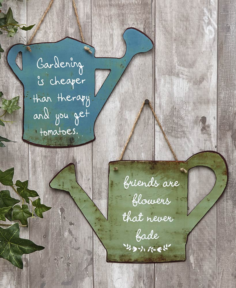 Metal Watering Can Garden Signs
