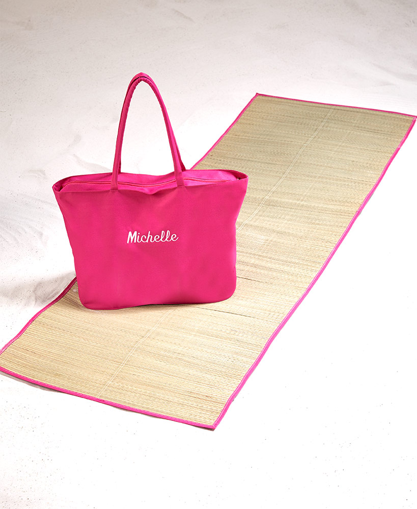 Personalized Beach Tote With Straw Mat