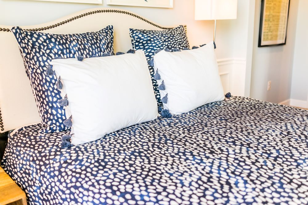 Bedroom Makeover Ideas - Blue And White Polka Dotted Bedspread