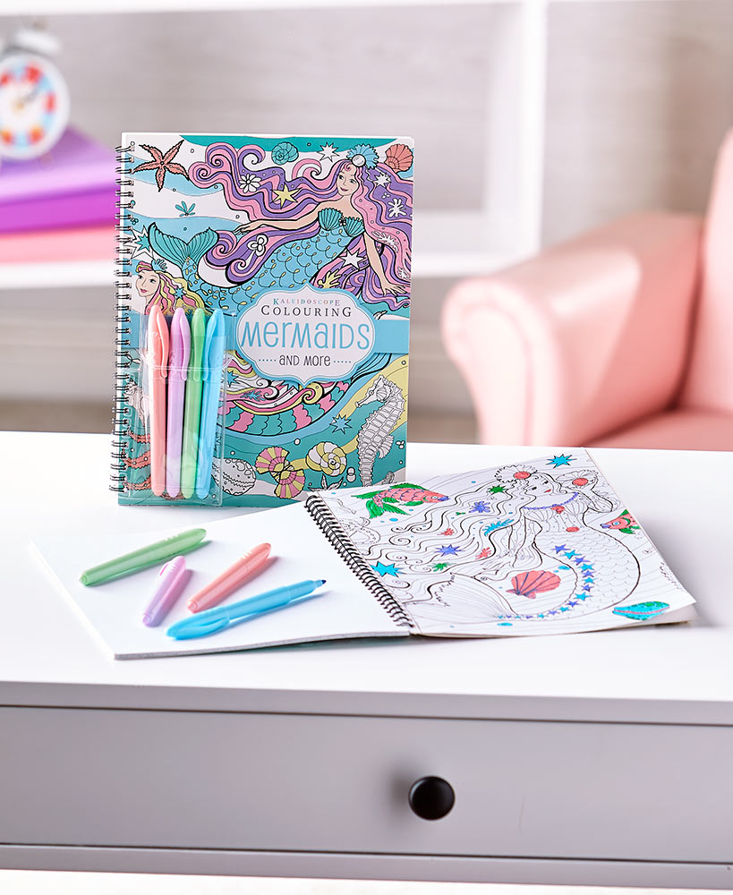 Mermaids Coloring Books with Pastel Markers