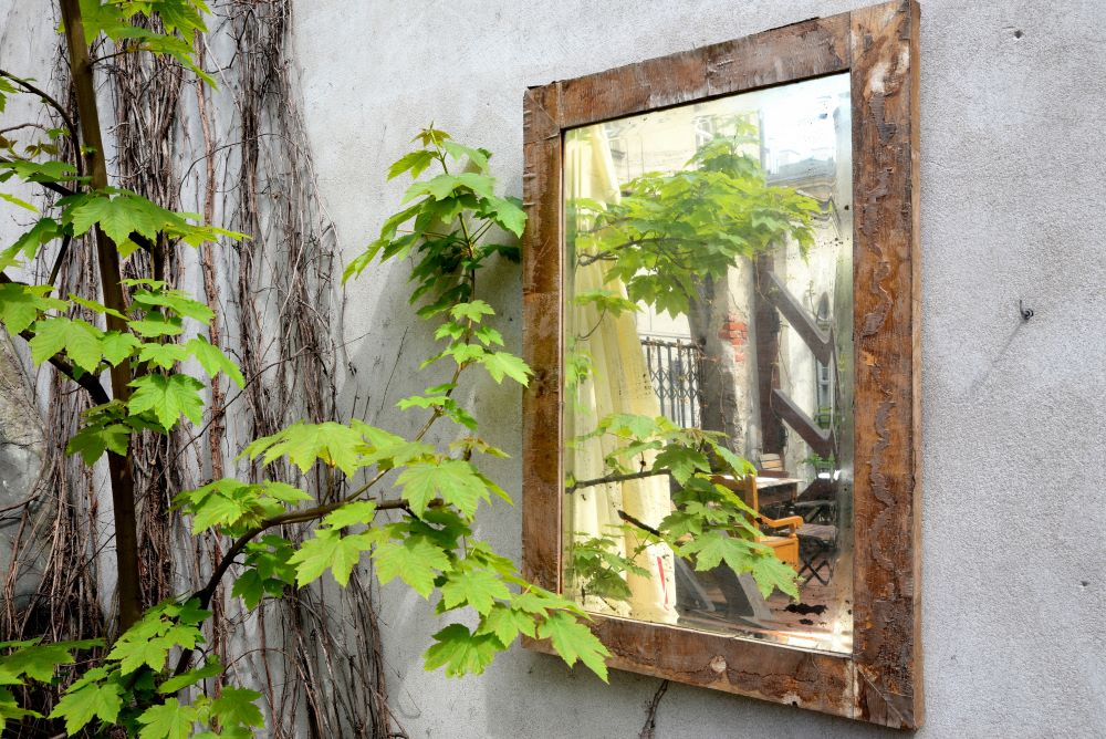 Small Patio Decorating Ideas - Outdoor Mirror