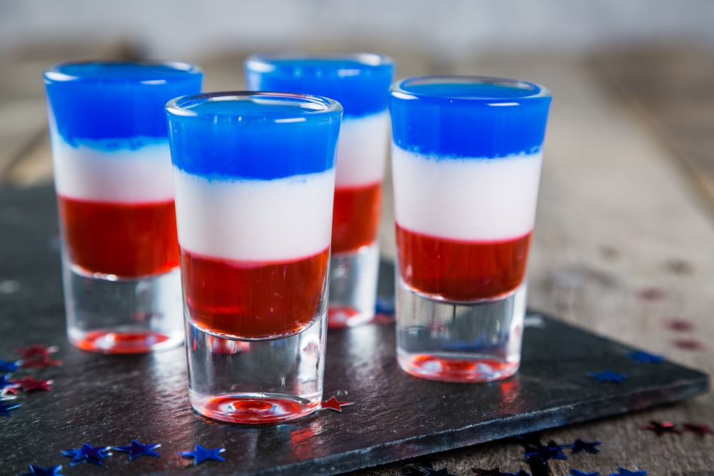 Drink Recipes For 4th of July - Patriotic Flag Jello Shots