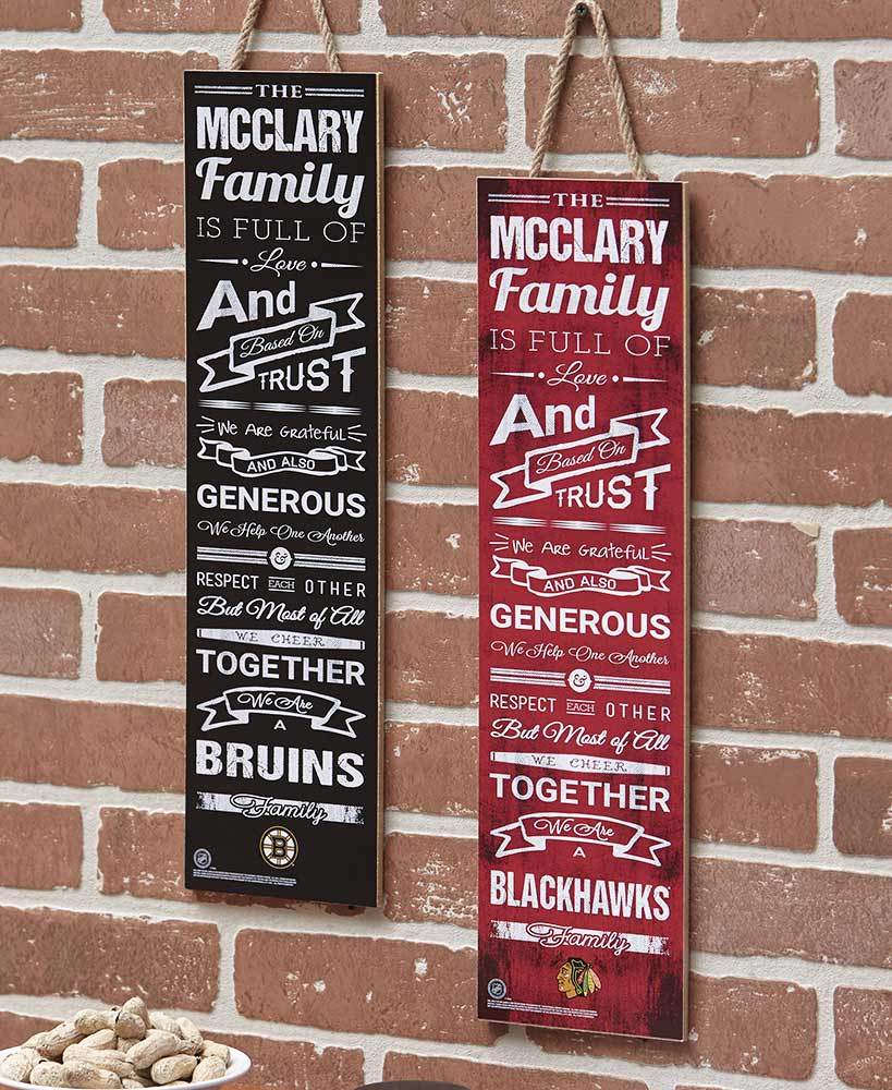 Personalized NHL Family Cheer Plaques