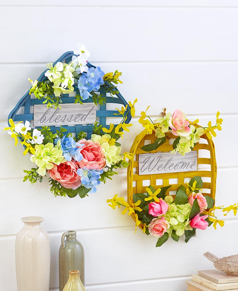 Floral Decorations - Floral Farmhouse Wall Baskets