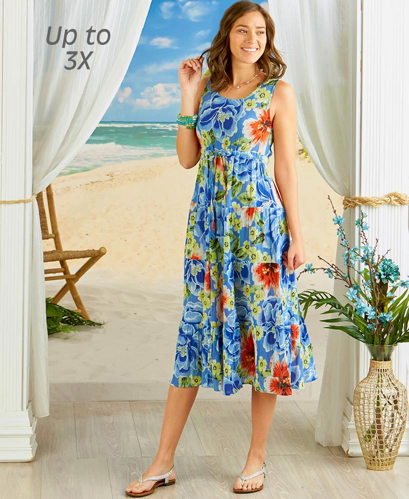 Women's Breezy Floral Tiered Dresses