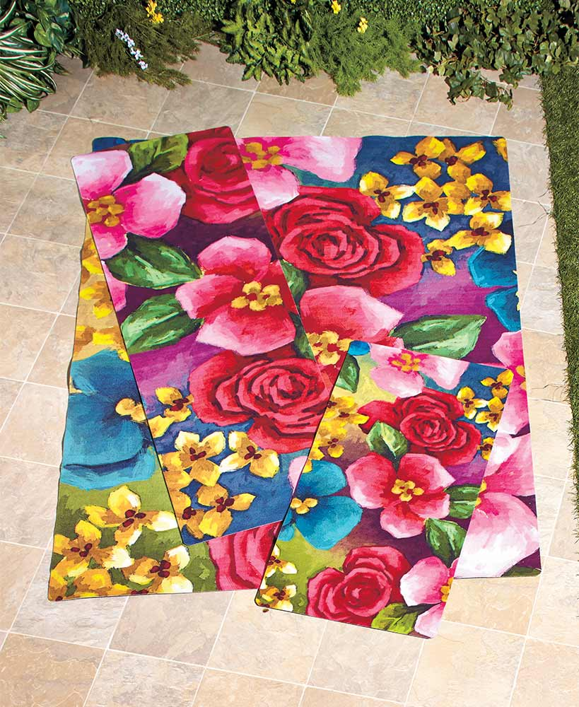 Floral Decorations - Outdoor Printed Flower Garden Rug Collection