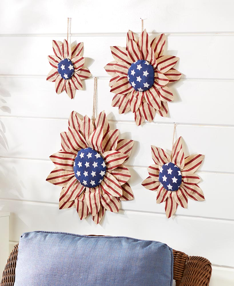 Floral Decorations - Americana Sunflower Wall Hangings