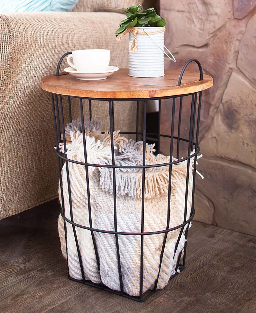 Summer Home Makeover - Wood Top Storage Basket Side Table