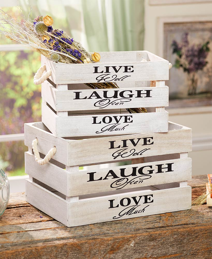 Set of 2 Storage Crates with Sentiment