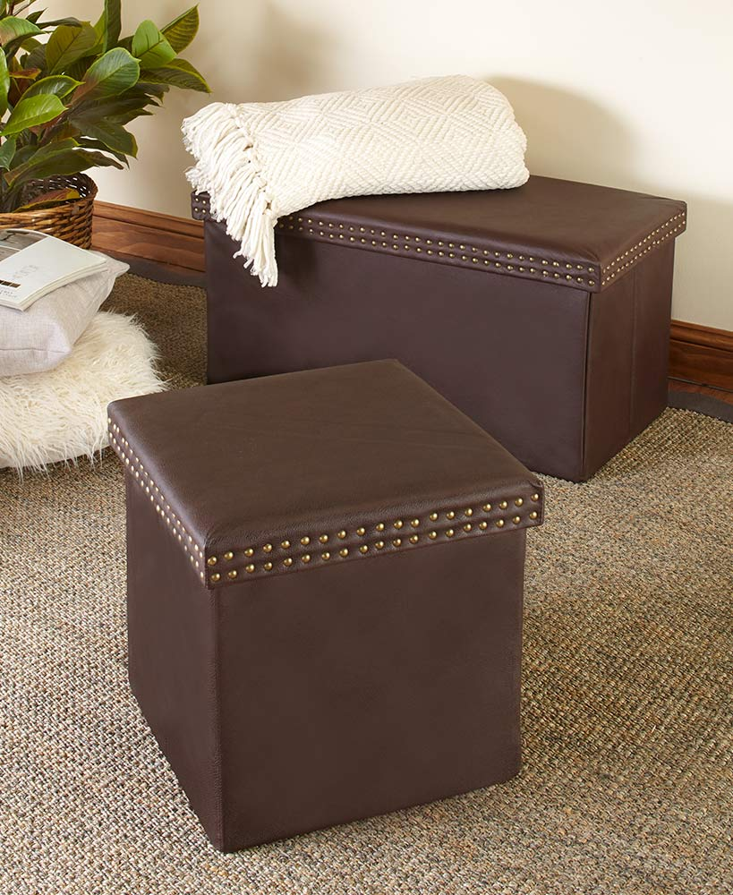 Faux Leather Storage Ottomans or Benches