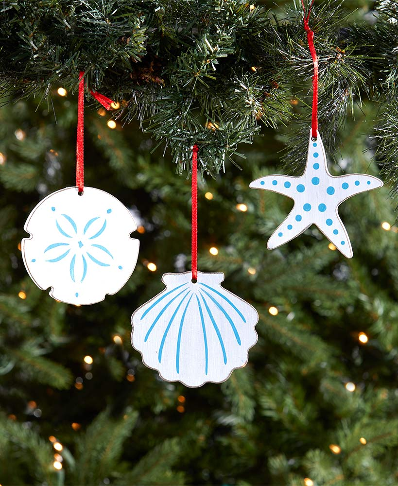 Set of 3 Shell Ornaments
