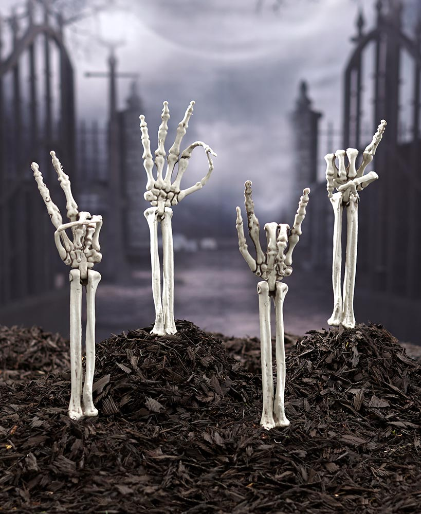 Scary Halloween Decorations - Skeleton Hand Symbol Arm Stakes
