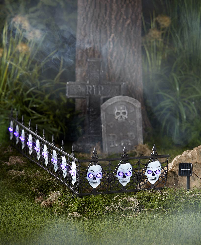 Scary Halloween Decorations - 4-Pc. Solar Lighted Skull Fence