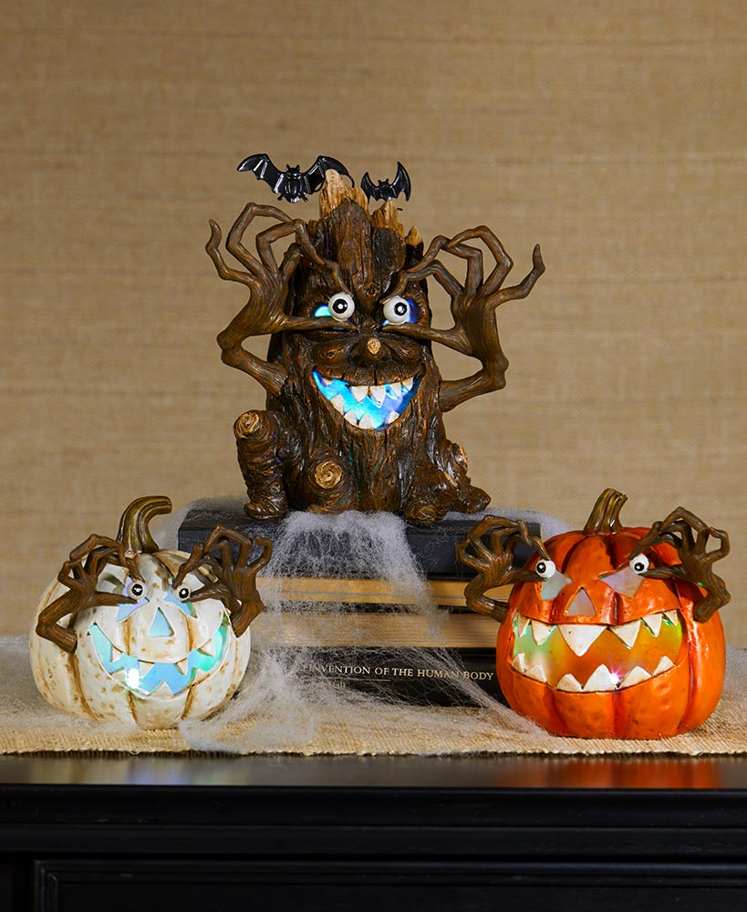 Scary Halloween Decorations - Lighted Scary Pumpkins or Tree