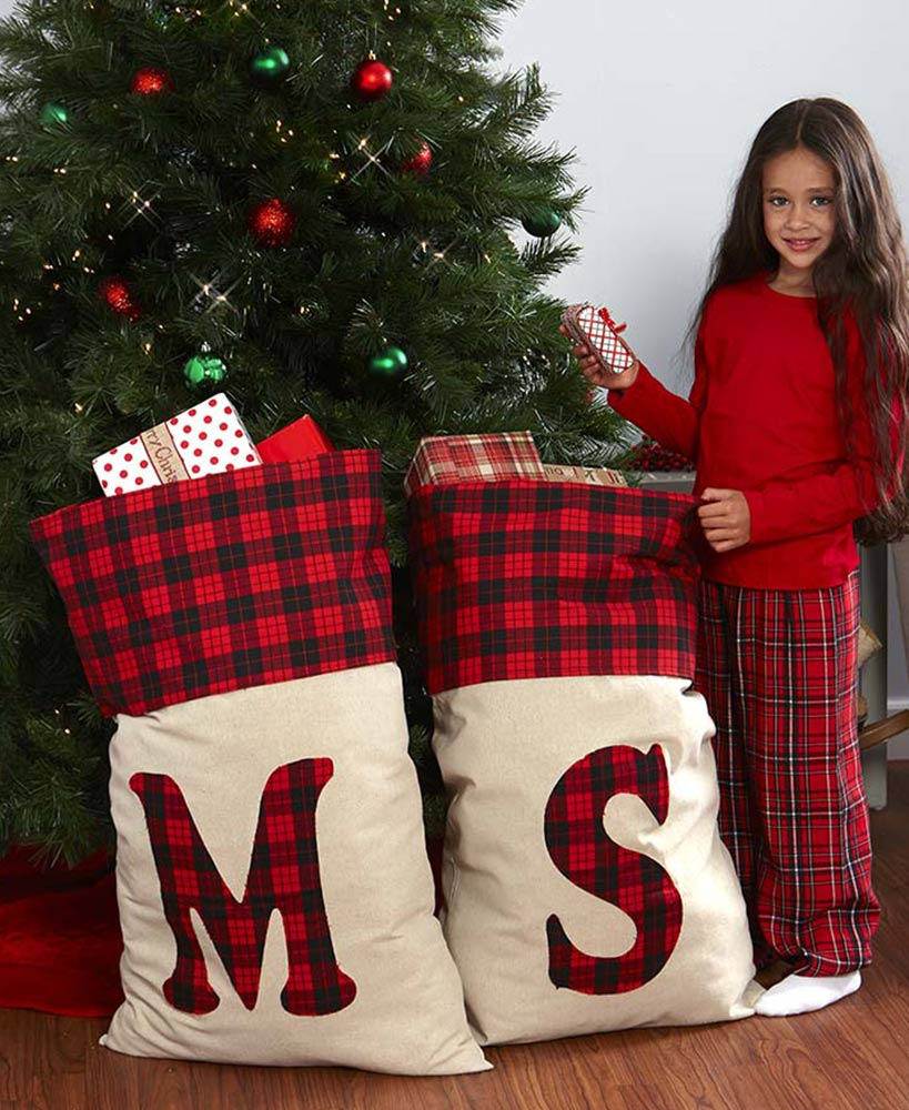 Giant Plaid Monogram Gift Bags