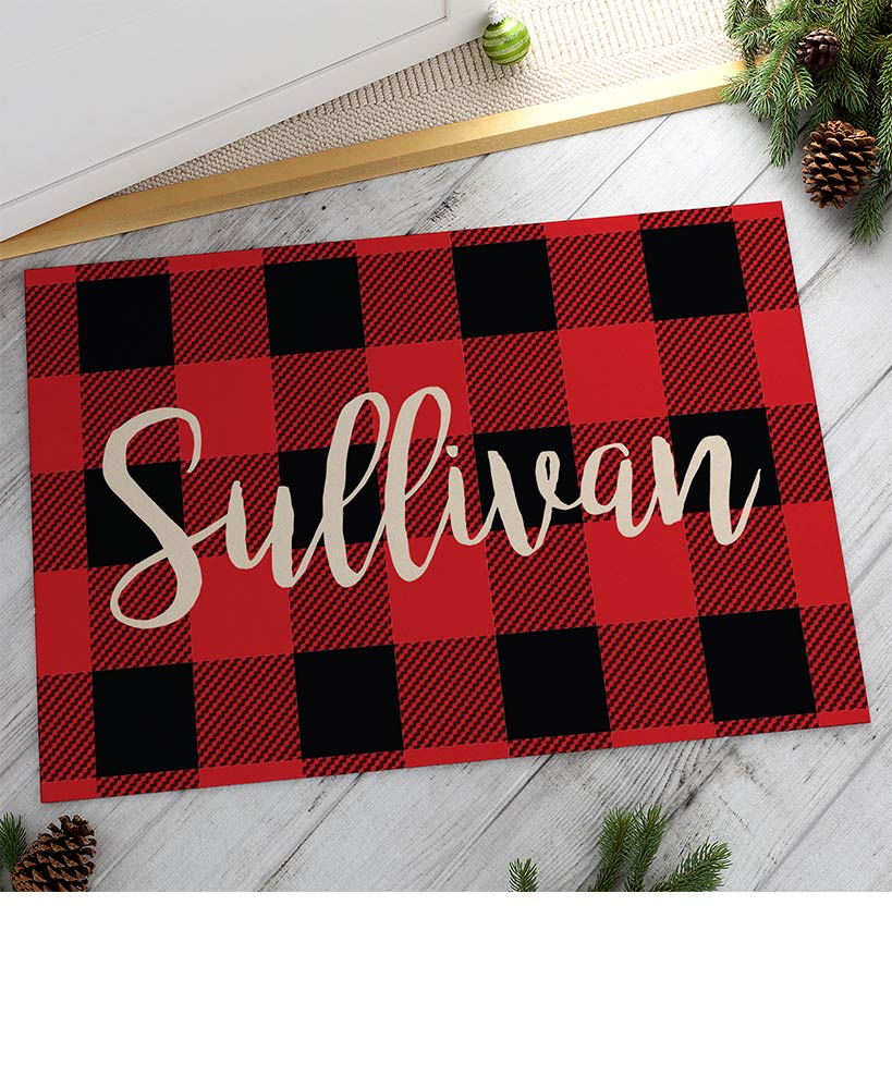 Personalized Buffalo Plaid Doormats