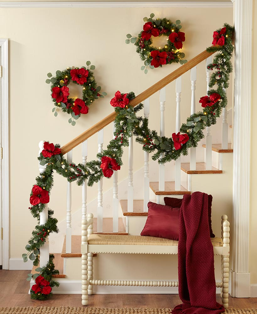 classic christmas decorating ideas - Lighted Wreath or Garland with Remote Control