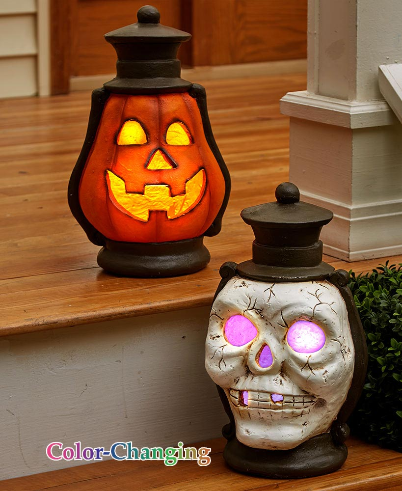Outdoor Halloween Decorations -   Oversized Lighted Porch Lanterns