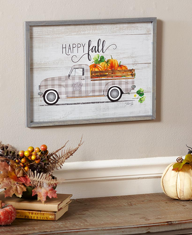 Festive Plaid Truck Wooden Wall Art