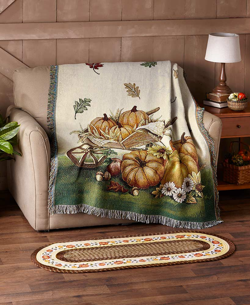 Fall Bed And Bath Decorations - Harvest Home Tapestry Throw