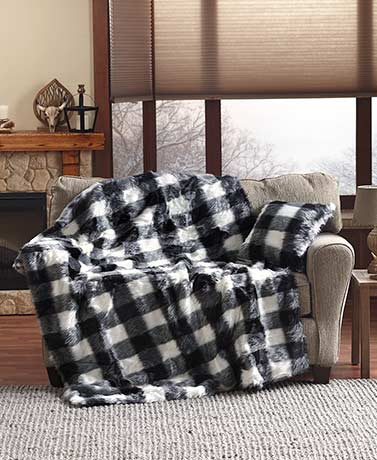 Faux Fur Black & White Buffalo Plaid Throws